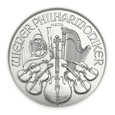 (EUR01.400.2019.0,04.pt.bullco.22910) 4 euro Autriche 2019 0,04 once platine - Philharmonique Revers