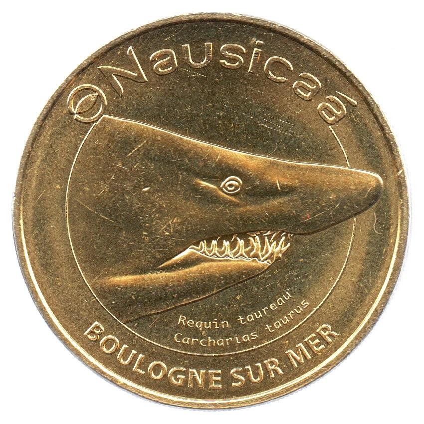 (FMED.Méd.tourist.2019.CuAlNi2.7.2.spl_.000000001) Tourism token - Sand tiger shark Obverse (zoom)