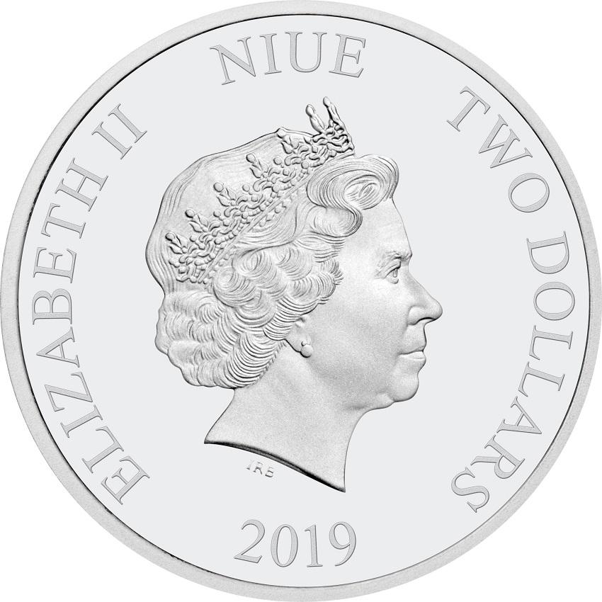 2 dollars Niue 2019 1 oz Proof silver - Rafiki and Simba Obverse (zoom)
