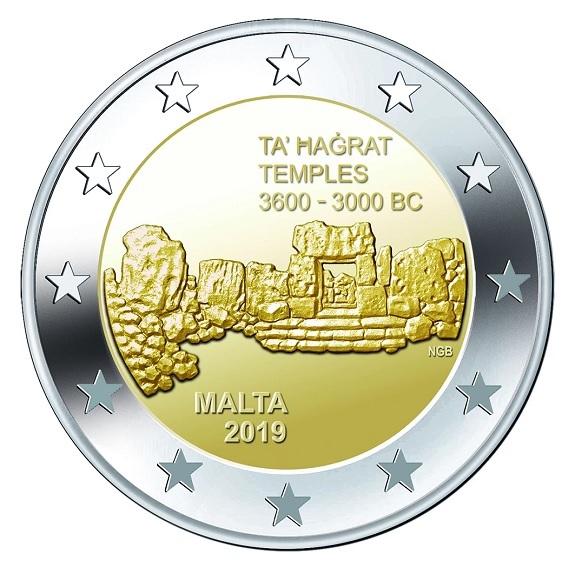 2 euro commemorative coin Malta 2019 - Ta' Ħaġrat Temples (zoom)