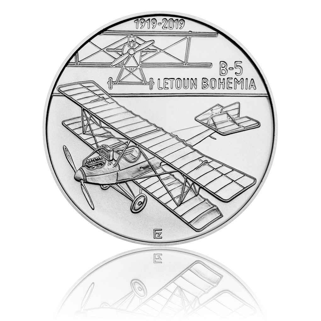 200 Korun 100th anniversary of the Bohemia B-5 2019 - Silver Reverse (zoom)
