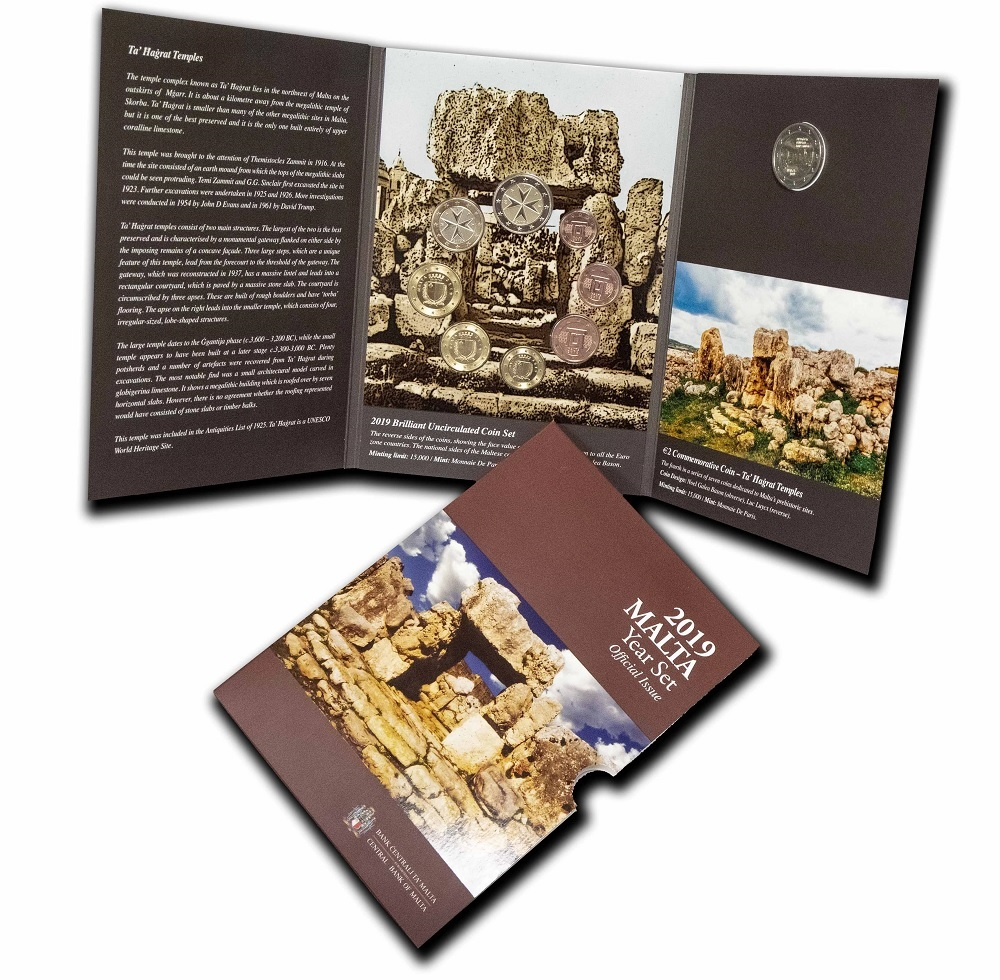 Brilliant Uncirculated coin set Malta 2019 - Ta' Ħaġrat temples (zoom)