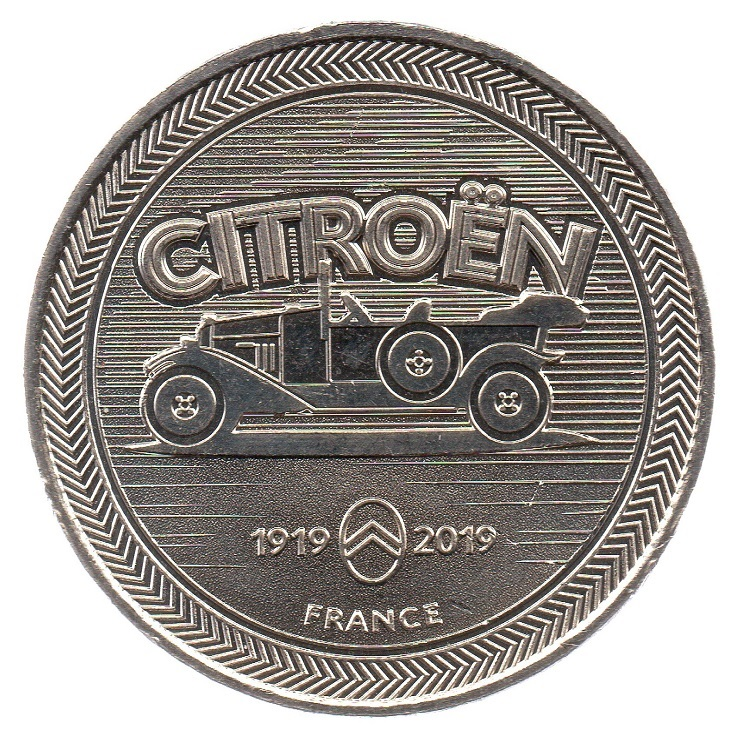 (FMED.Méd.souv_.2019.CuNi1_.spl_.000000001) Event token - 100th anniversary of Citroën Obverse (zoom)