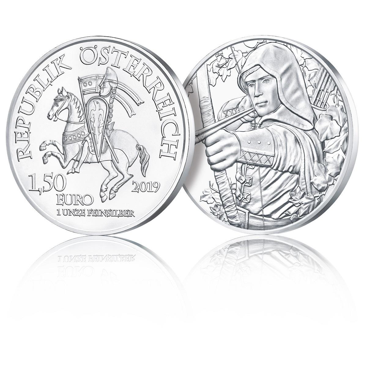 1,50 euro Austria 2019 1 ounce silver - Robin Hood (zoom)