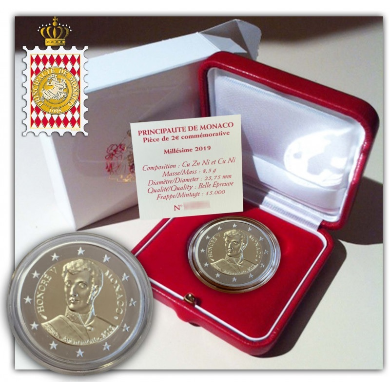 2 euro commemorative coin Monaco 2019 Proof - Prince Honoré V (zoom)