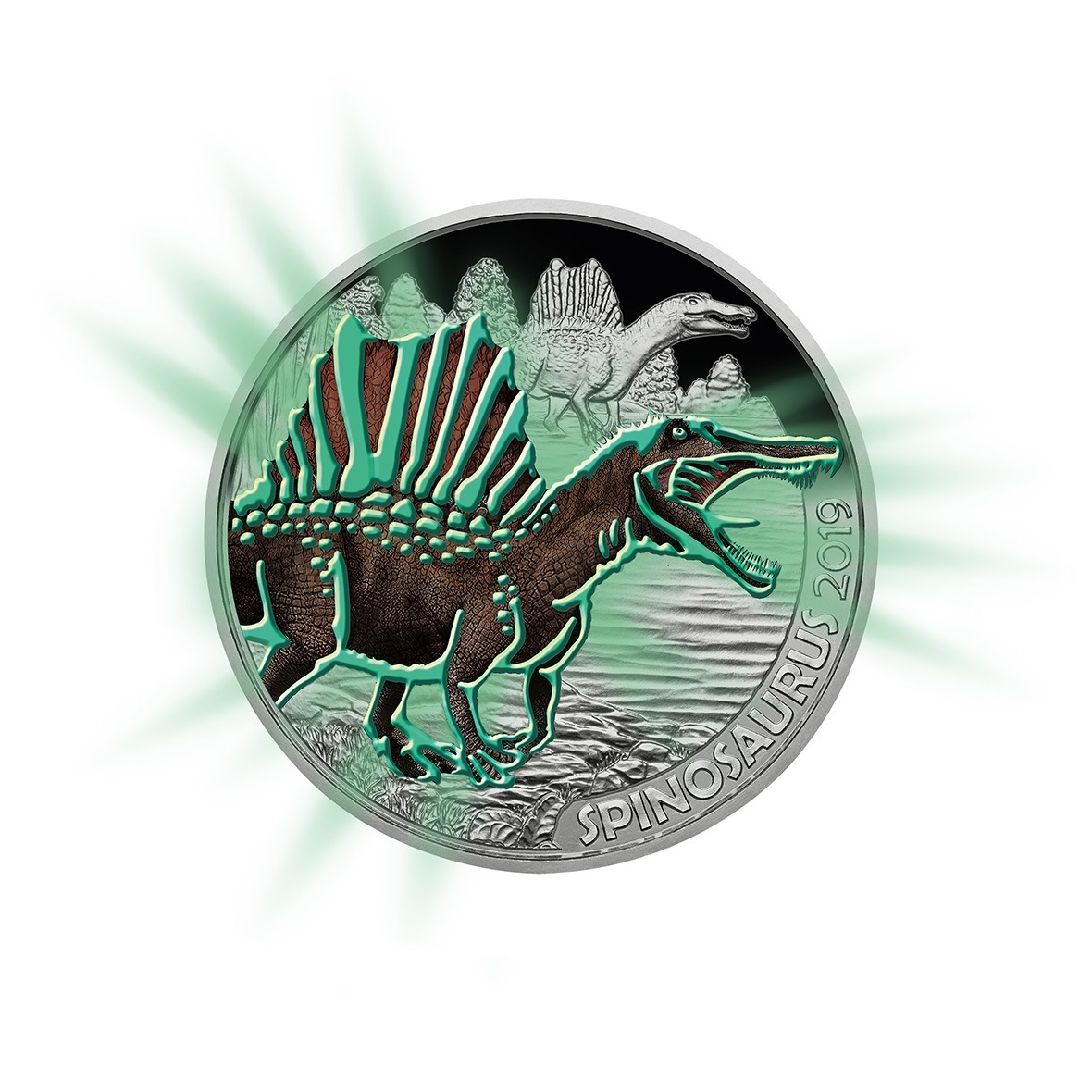 3 euro Austria 2019 - Spinosaurus Reverse (glow-in-the-dark) (zoom)