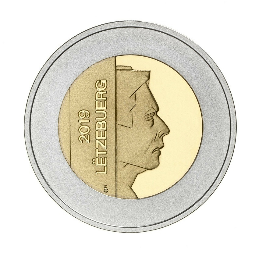 5 euro Luxembourg 2019 Proof silver and Nordic gold - Great crested grebe Obverse (zoom)
