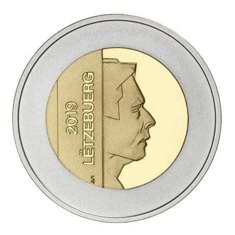 5 euro Luxembourg 2019 argent et or nordique BE - Grèbe huppé Avers