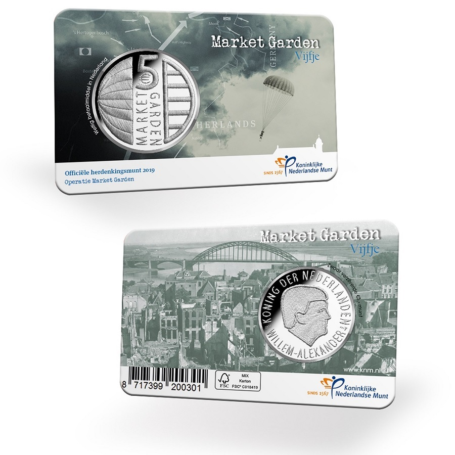 5 euro Netherlands 2019 Uncirculated - Operation Market Garden (coin card) (zoom)