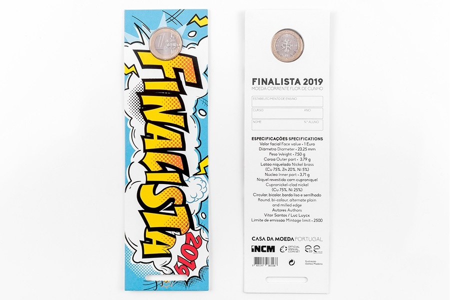 Bookmark 1 euro Portugal 2019 FDC - Students graduation (front and back) (zoom)