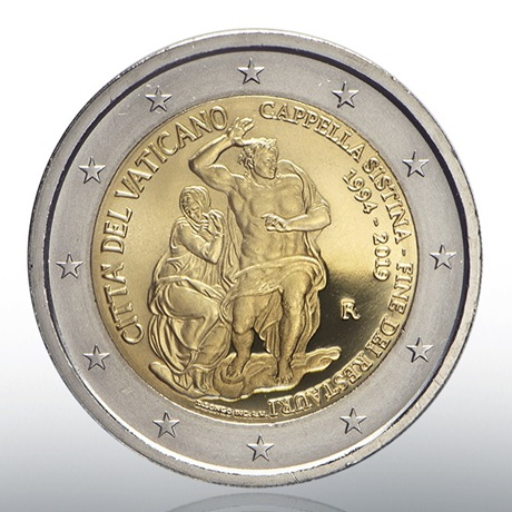 2 euro commémorative Vatican 2019 BE - Chapelle Sixtine Avers