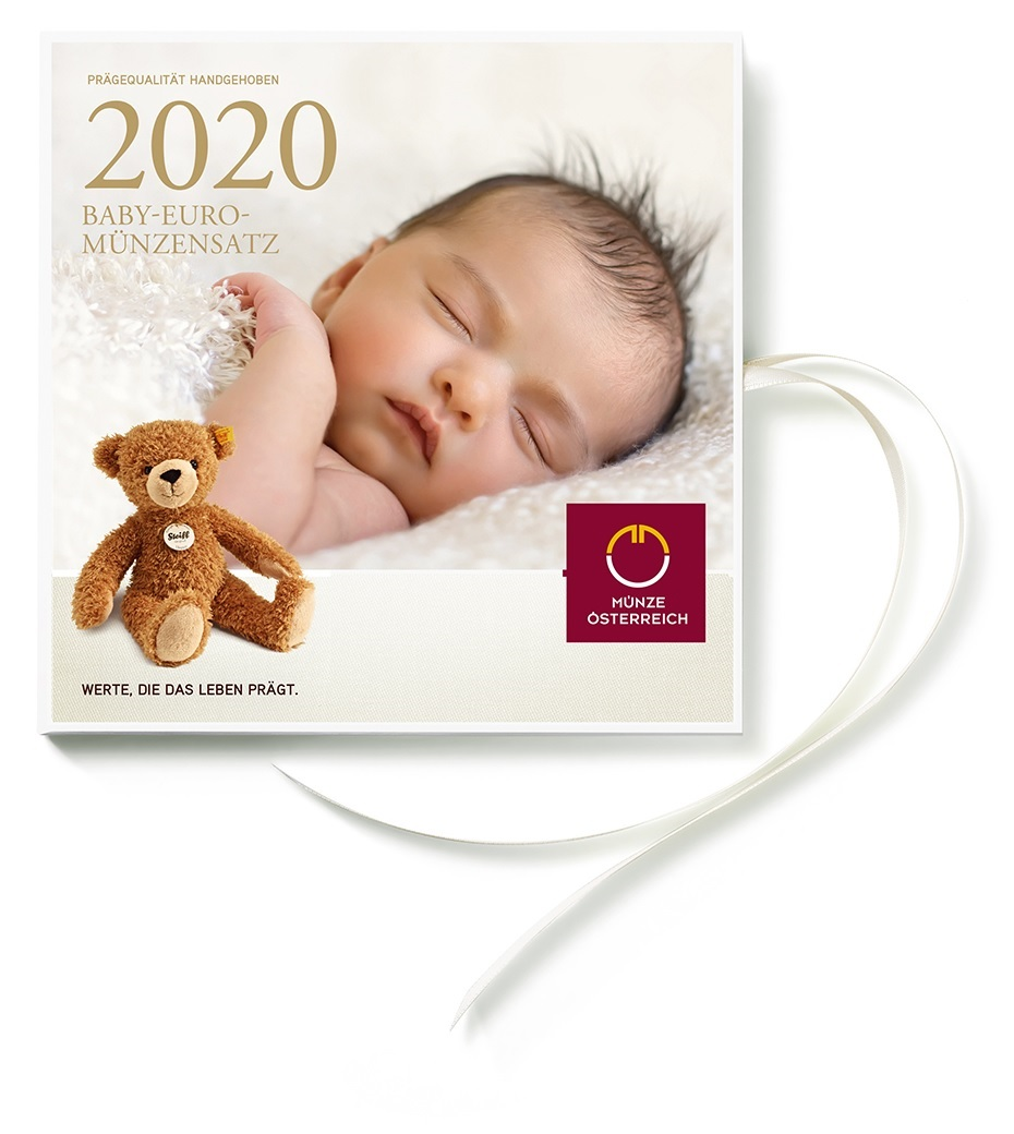 Brilliant Uncirculated coin set Austria 2020 - Baby birth (zoom)