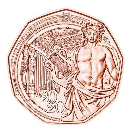 (EUR01.500.2020.23626) 5 euro Autriche 2020 - Musikverein Revers
