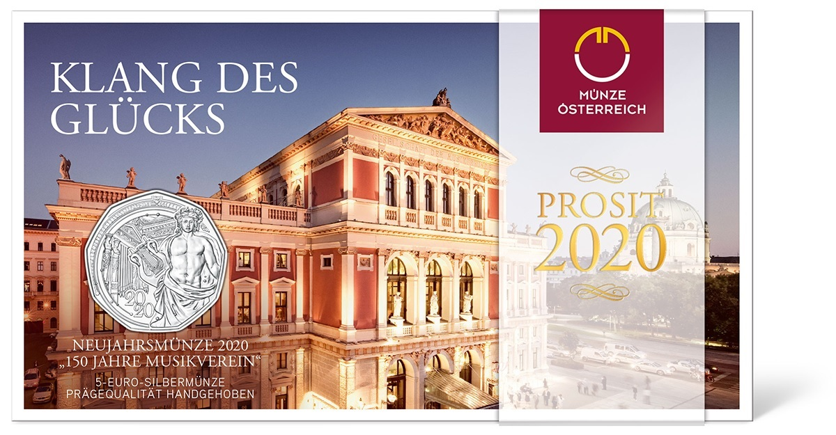 (EUR01.ComBUBE.2020.500.BU_.23627) 5 euro Austria 2020 Brilliant Uncirculated silver - Musikverein (packaging) (zoom)