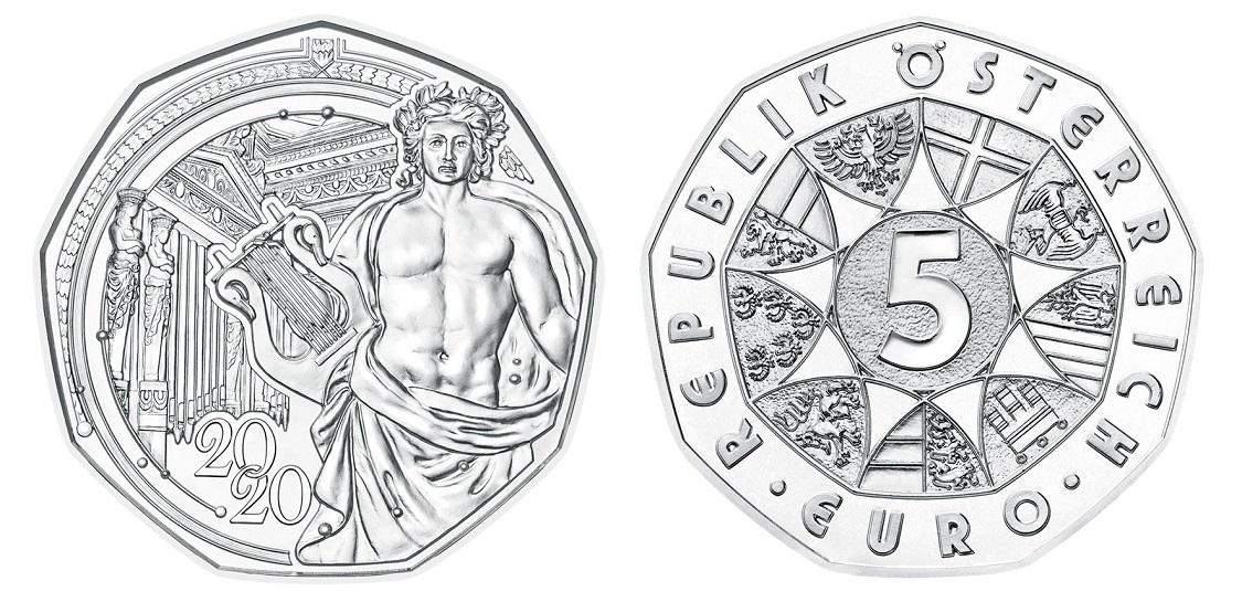 (EUR01.ComBUBE.2020.500.BU_.23627) 5 euro Austria 2020 Brilliant Uncirculated silver - Musikverein (zoom)