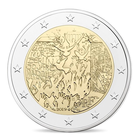 (EUR07.ComBU&BE.2019.200.BE.10041330010000) 2 euro commémorative France 2019 BE - Mur de Berlin Avers