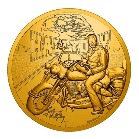 (FMED.Méd.souv.2019.CuAlNi.10011347530000) Jeton souvenir - Johnny Hallyday et sa Harley Davidson Avers