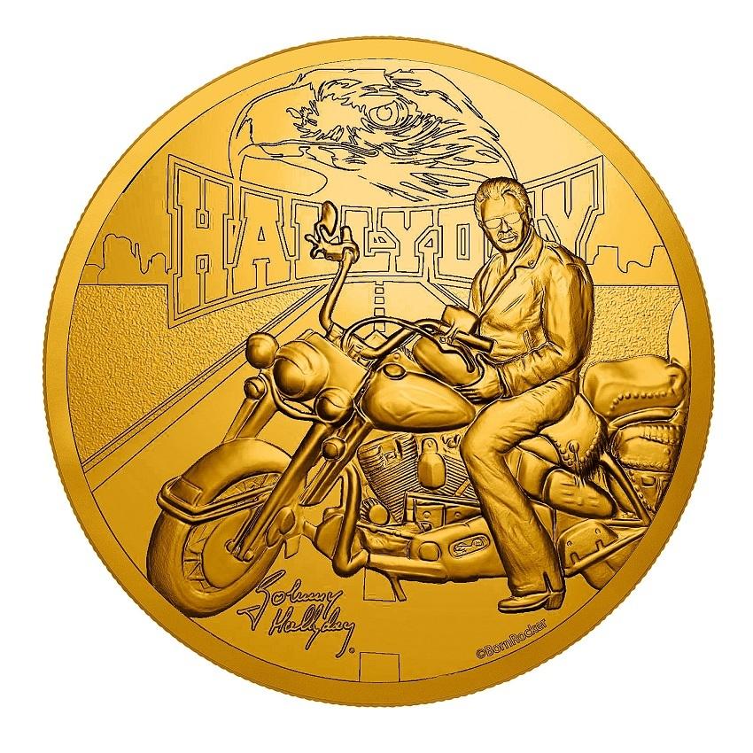 (FMED.Méd.souv.2019.CuAlNi.10011347530000) Memory token - Johnny Hallyday and his Harley Davidson Obverse (zoom)