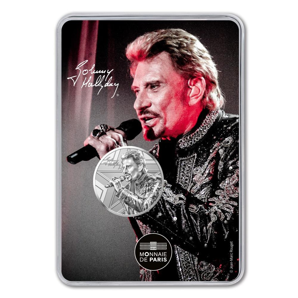 (FMED.Méd.souv_.2019.CuNi_.10011345880000) Memory token - Johnny Hallyday with a micro Front (zoom)