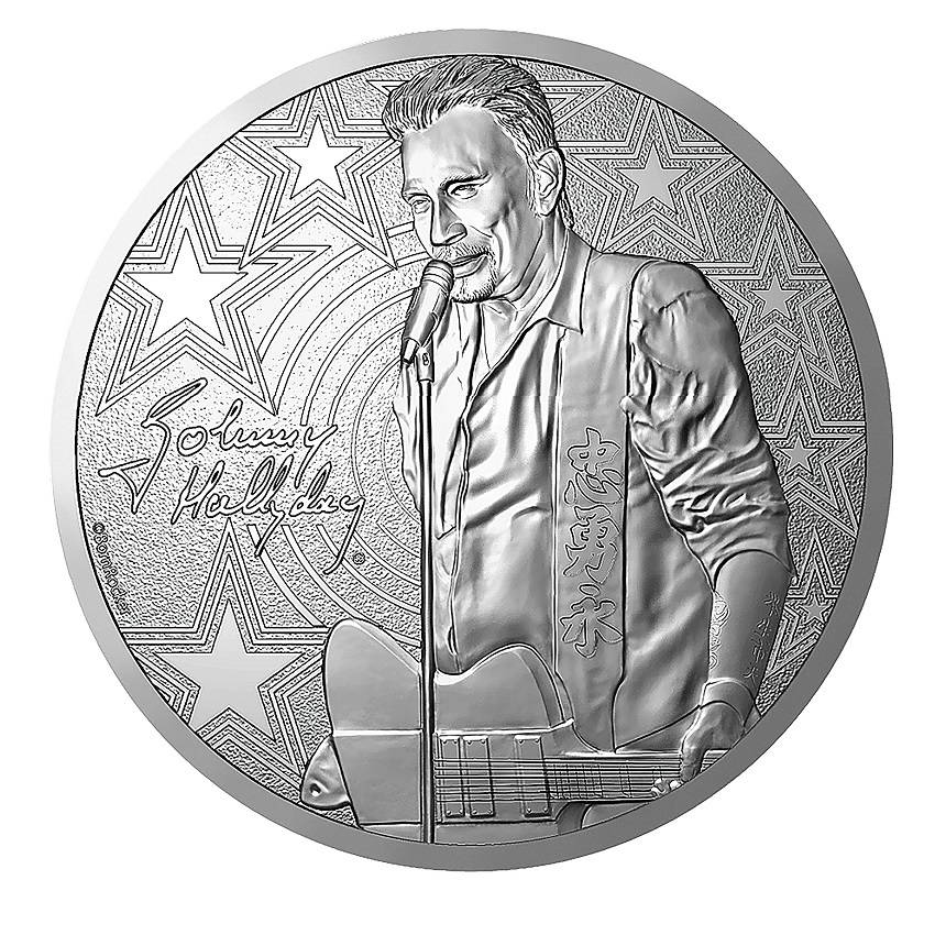 (FMED.Méd.souv.2019.CuNi.10011347550000) Memory token - Johnny Hallyday and his guitar Obverse (zoom)