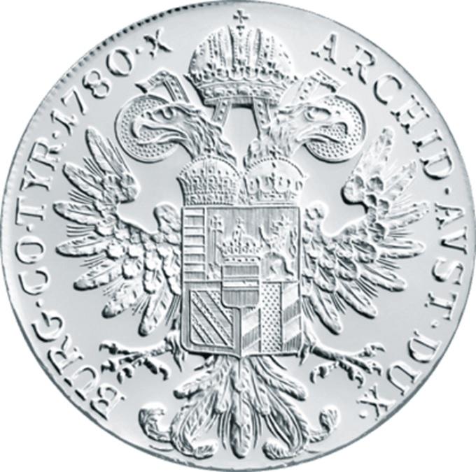 (W018.Thaler.1780.10079) Restrike Thaler Maria Theresa 1780 Reverse (zoom)