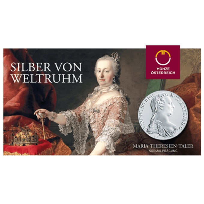 (W018.Thaler.1780.10079) Restrike Thaler Maria Theresa 1780 (packaging) (zoom)