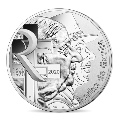 10 euro France 2020 argent - Charles de Gaulle Avers