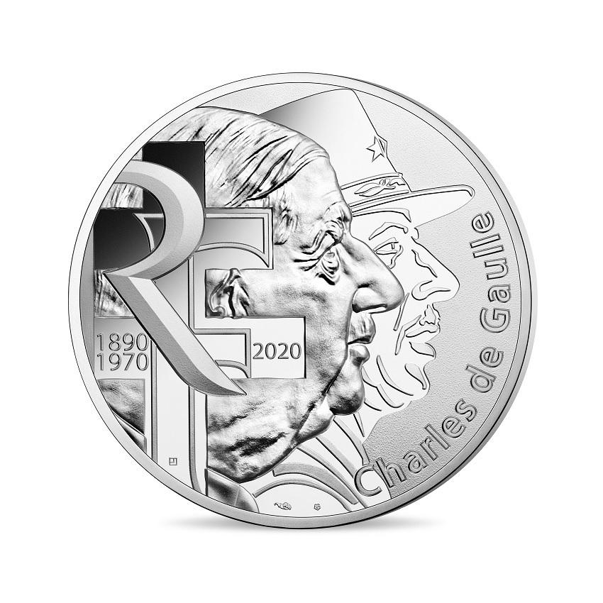 100 euro France 2020 silver - General de Gaulle Obverse (zoom)