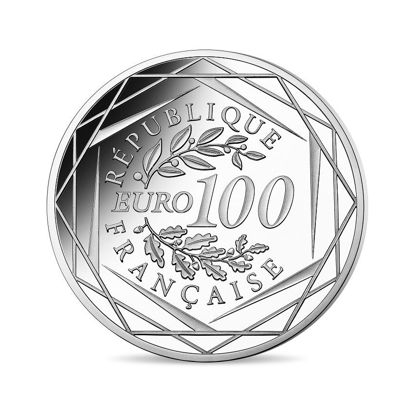 100 euro France 2020 silver - General de Gaulle Reverse (zoom)