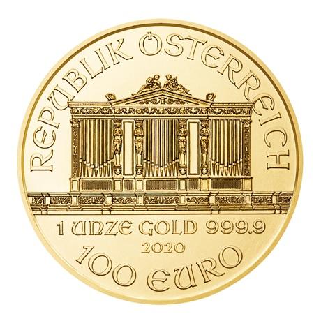 (EUR01.10000.2020.1.au.bullco.47) 100 euro Autriche 2020 1 once or - Philharmonique Avers