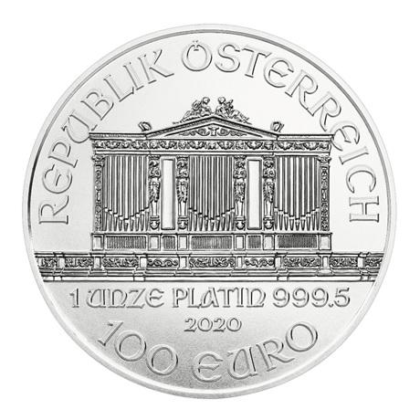 (EUR01.10000.2020.1.pt.bullco.21721) 100 euro Autriche 2020 1 once platine - Philharmonique Avers