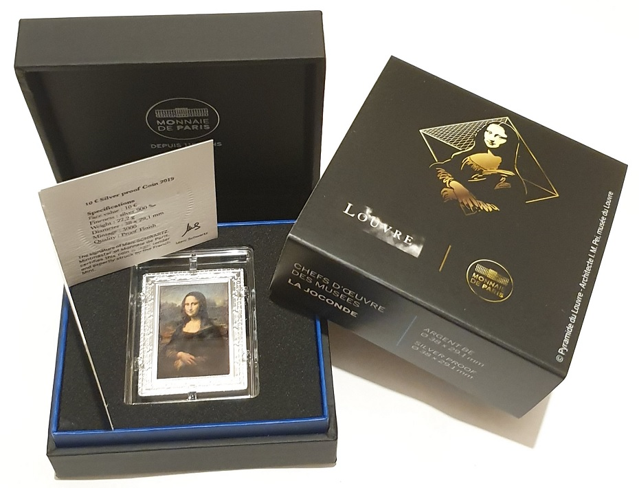 (EUR07.ComBUBE.2019.1000.BE.10041329570000) 10 euro France 2019 Proof silver - Mona Lisa (packaging) (zoom)