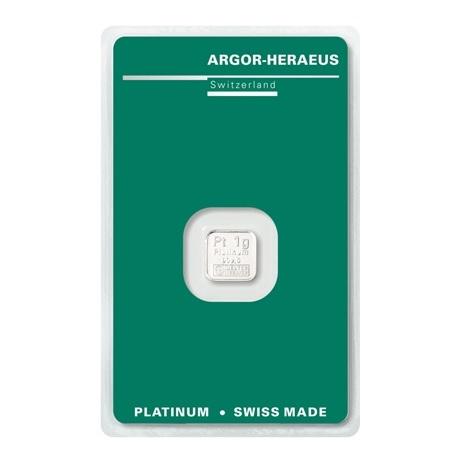 (LIN.Argor-Heraeus.1.pt.0) Lingot platine 1 gramme Argor-Heraeus (blister certifié) Recto