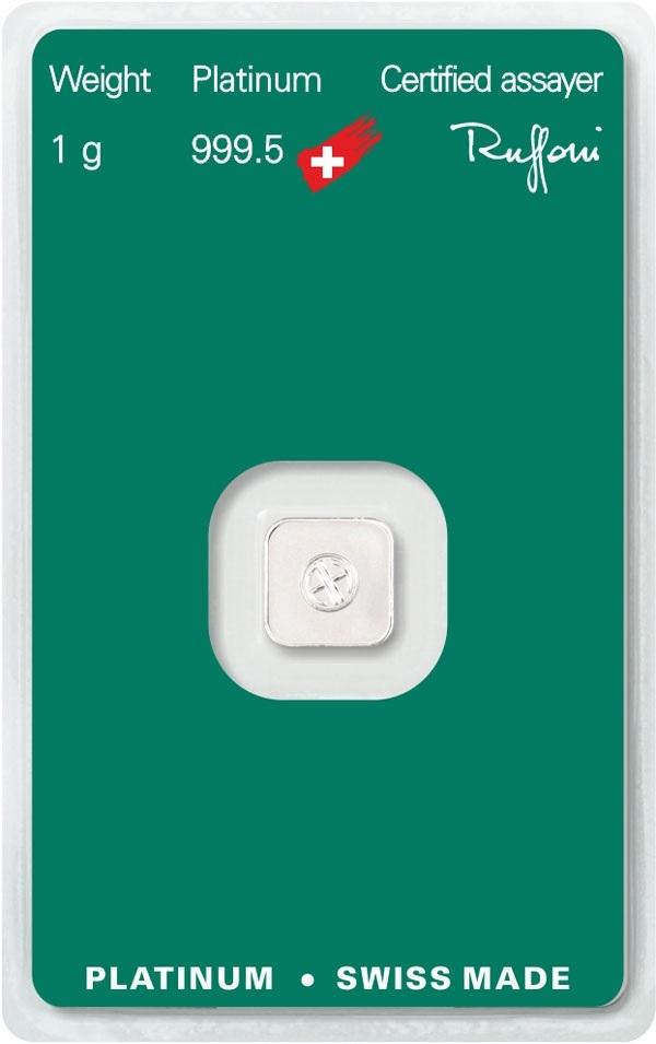 (LIN.Argor-Heraeus.1.pt.0) Platinum bar 1 gram - Argor-Heraeus (certified blister) Back (zoom)