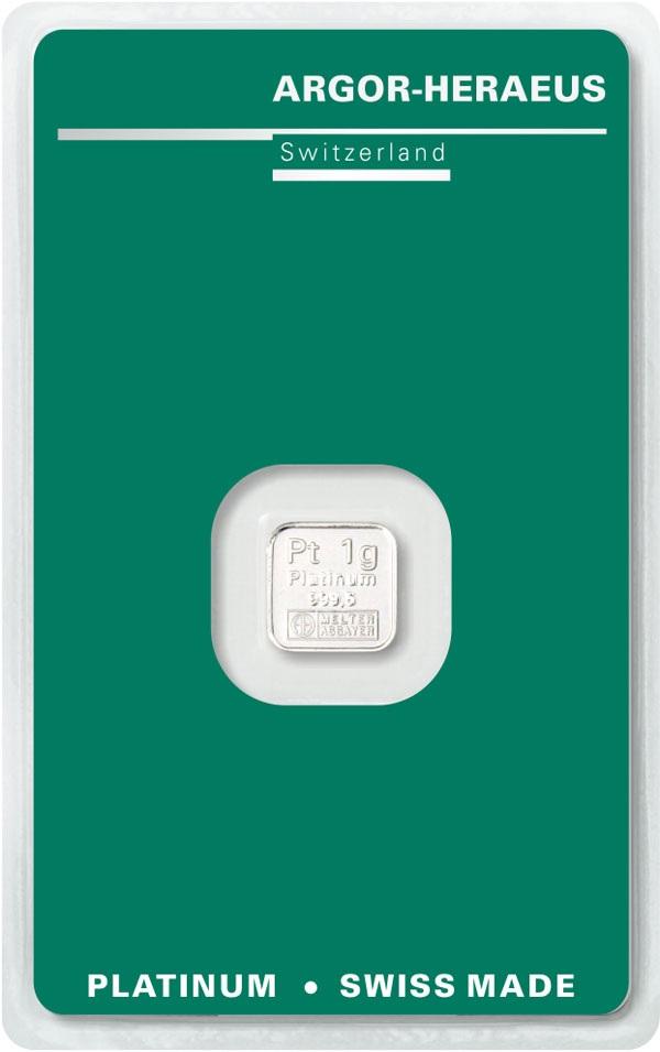 (LIN.Argor-Heraeus.1.pt.0) Platinum bar 1 gram - Argor-Heraeus (certified blister) Front (zoom)