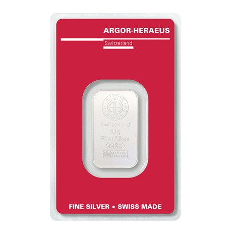 (LIN.Argor-Heraeus.10.ag.0) Lingot argent 10 grammes Argor-Heraeus (blister certifié) Recto