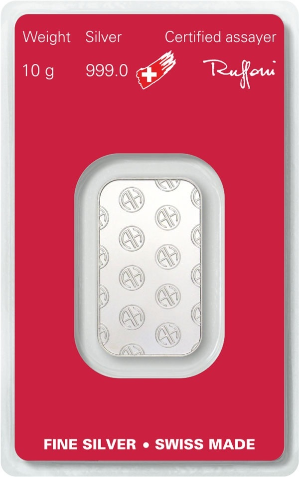 (LIN.Argor-Heraeus.10.ag.0) Silver bar 10 grams Argor-Heraeus (certified blister) Back (zoom)