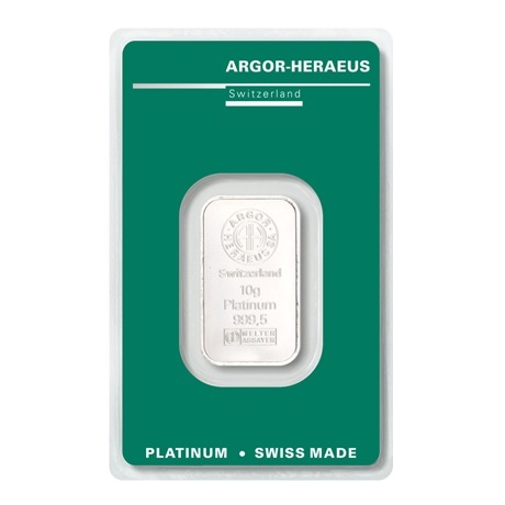 (LIN.Argor-Heraeus.10.pt.0) Lingot platine 10 grammes Argor-Heraeus (blister certifié) Recto