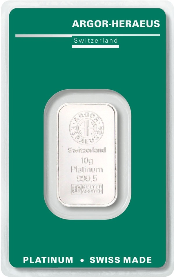 (LIN.Argor-Heraeus.10.pt.0) Platinum bar 10 grams Argor Heraeus (certified blister) Front (zoom)