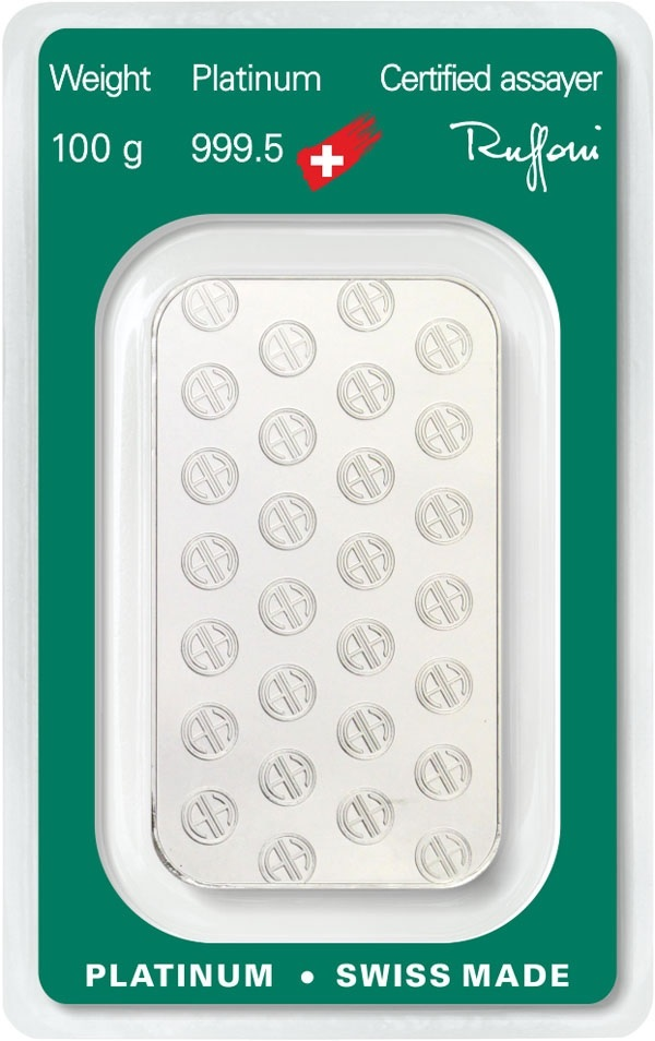 (LIN.Argor-Heraeus.100.pt.0) Platinum bar 100 grams Argor-Heraeus (certified blister) Back (zoom)