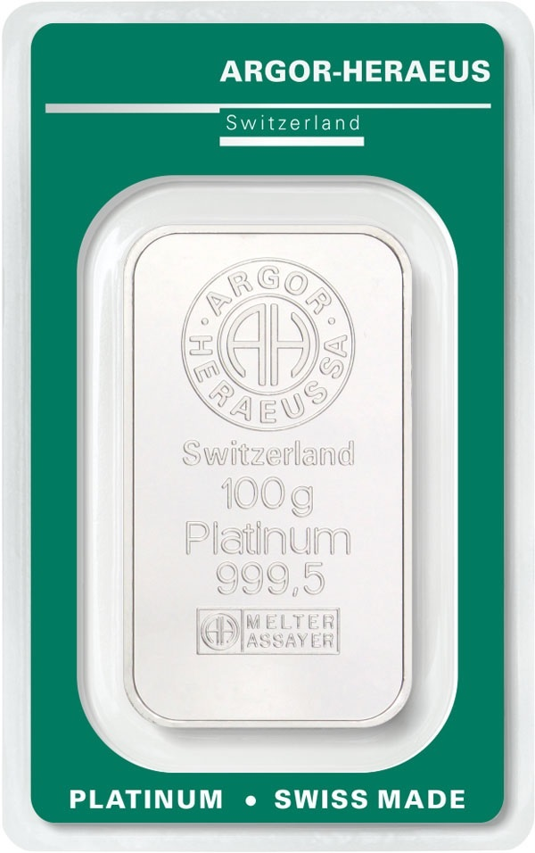 (LIN.Argor-Heraeus.100.pt.0) Platinum bar 100 grams Argor-Heraeus (certified blister) Front (zoom)