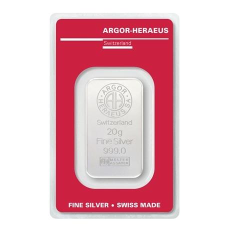 (LIN.Argor-Heraeus.20.ag.0) Lingot argent 20 grammes Argor-Heraeus (blister certifié) Recto