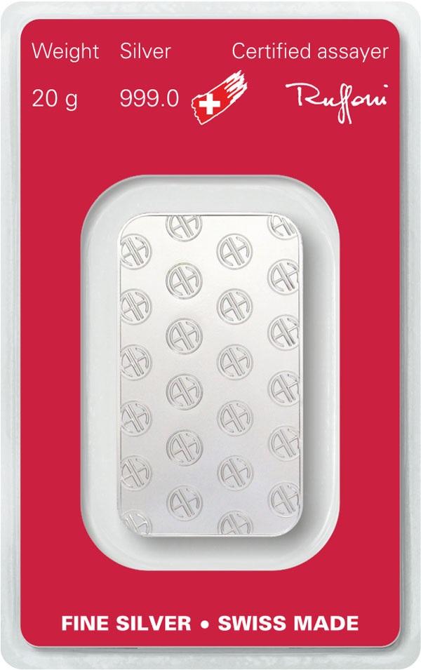 (LIN.Argor-Heraeus.20.ag.0) Silver bar 20 grams Argor-Heraeus (certified blister) Back (zoom)