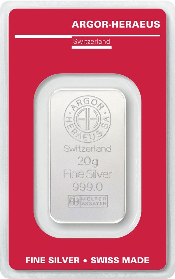 (LIN.Argor-Heraeus.20.ag.0) Silver bar 20 grams Argor-Heraeus (certified blister) Front (zoom)
