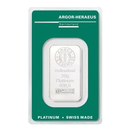 (LIN.Argor-Heraeus.20.pt.0) Lingot platine 20 grammes Argor-Heraeus (blister certifié) Recto