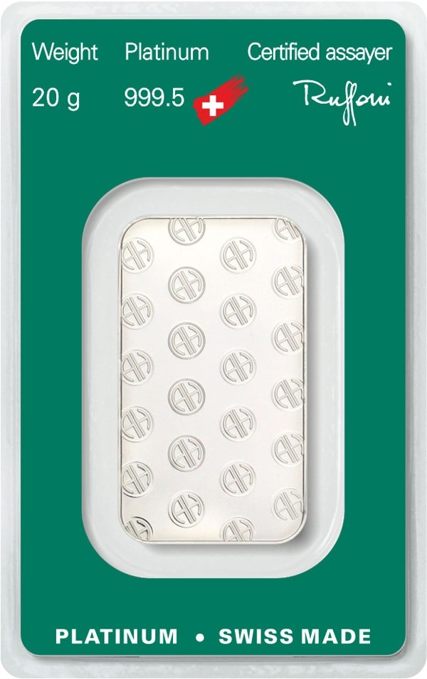 (LIN.Argor-Heraeus.20.pt.0) Platinum bar 20 grams Argor-Heraeus (certified blister) Back (zoom)