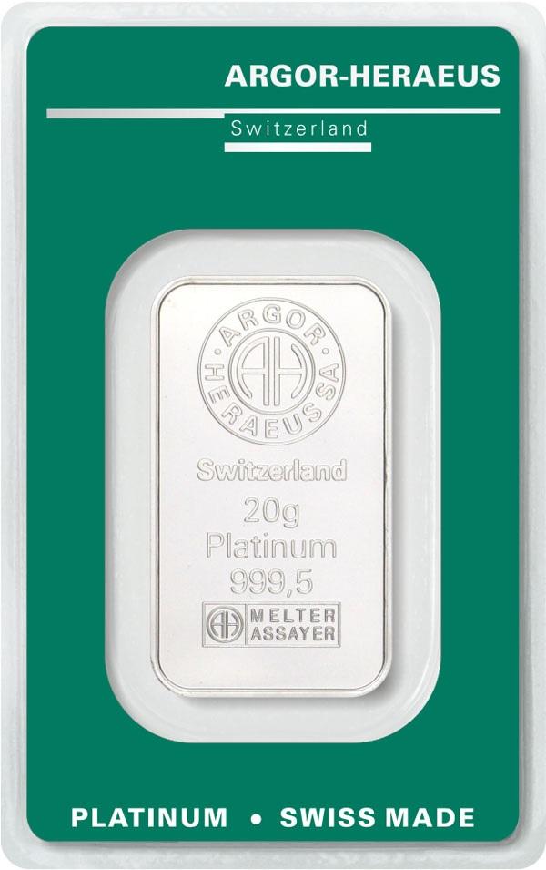 (LIN.Argor-Heraeus.20.pt.0) Platinum bar 20 grams Argor-Heraeus (certified blister) Front (zoom)