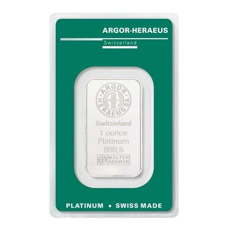 (LIN.Argor-Heraeus.31,10.pt.0) Lingot platine 1 once Argor-Heraeus (blister certifié) Recto