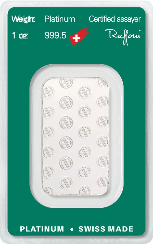 (LIN.Argor-Heraeus.3110.pt.0) Platinum bar 1 oz Argor-Heraeus (certified blister) Back (zoom)
