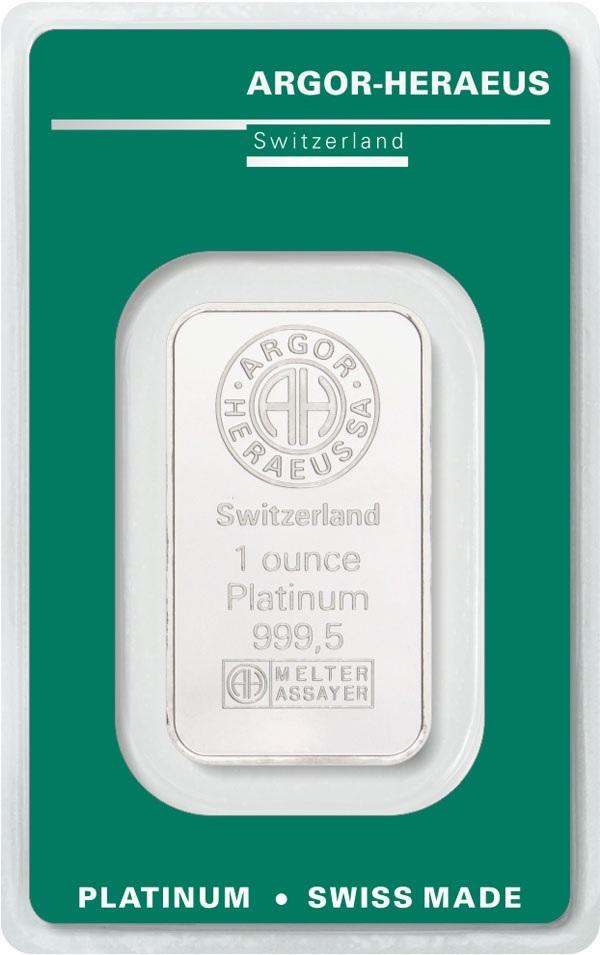 (LIN.Argor-Heraeus.3110.pt.0) Platinum bar 1 oz Argor-Heraeus (certified blister) Front (zoom)